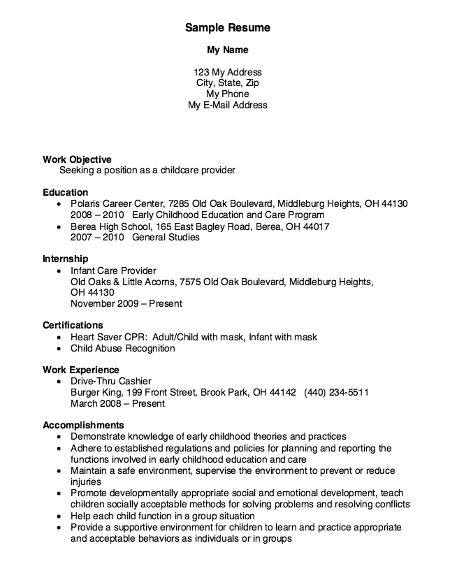 childcare provider resume example resumes pinterest resume - Child Care Provider Resume
