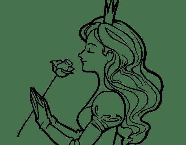Dibujo De Princesa Y Rosa Para Colorear  Dibujos De