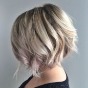 blonde textured bob with undercut