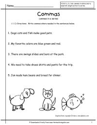 grammar worksheets commas in a series first grade free ...