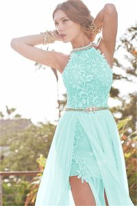 Babyonline Aqua Lace Semi Formal Dresses Long Evening