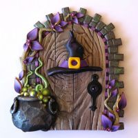 Witch Hat and Bubbling Cauldron Halloween Door, Holiday