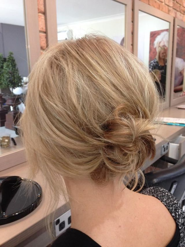 Lose Life sexy messy low bun Created from a Long  Bob
