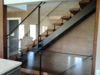 Modern stair with open riser. Glass railing. | Stairs and ...