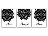 Live Laugh Love Wall Art, Printable Wall Art, Black and ...