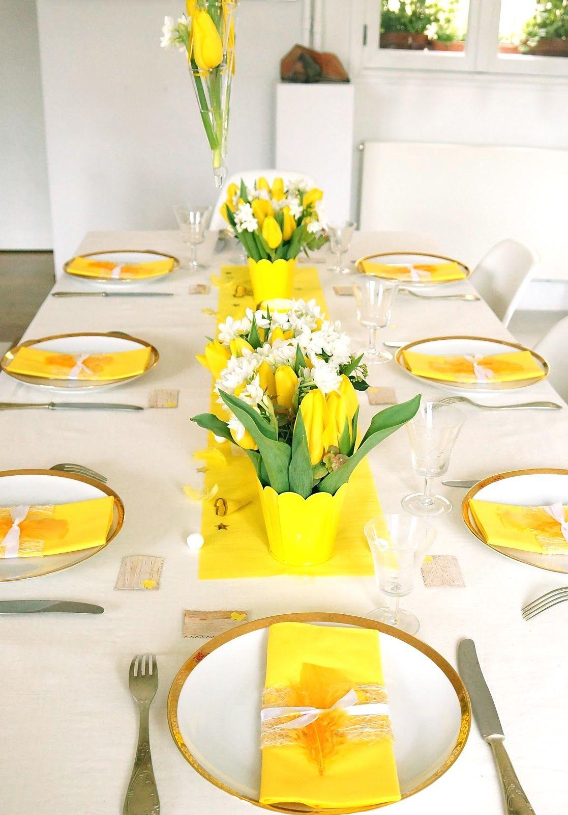 decoration de table jaune et vert