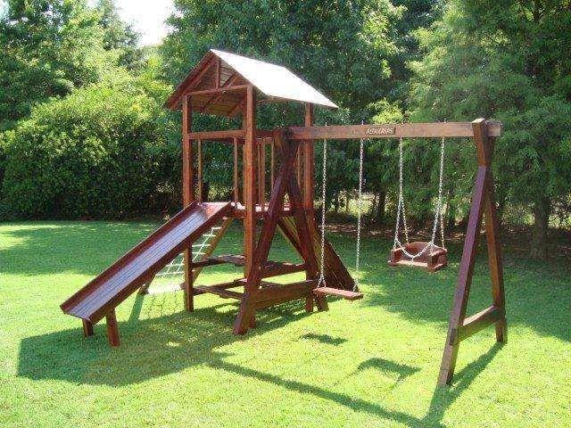 juegos de madera para jardin  Buscar con Google  Paisajismo  Pinterest  Playground Prefab