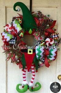 Christmas wreath elf wreath with legs deco mesh wreath elf ...