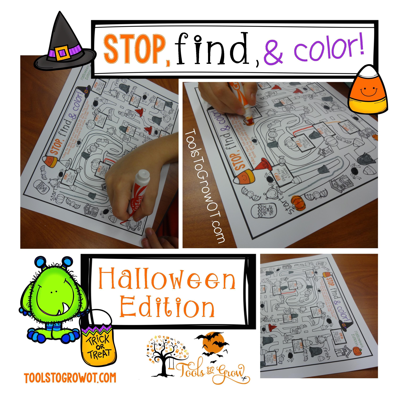 Halloween Fine Motor Integration Stop Find Amp Color Maze Works On Fine Motor Scanning And