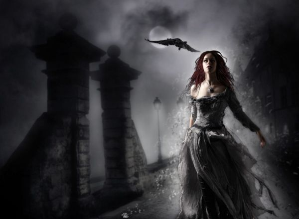 Gothic Dark Art Fantasy Girl And Redheads