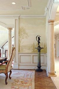 Mural stencils, elegant mural for dining room, grisaille ...