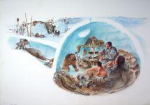 Inuit Family Life. Book Illustration Frric