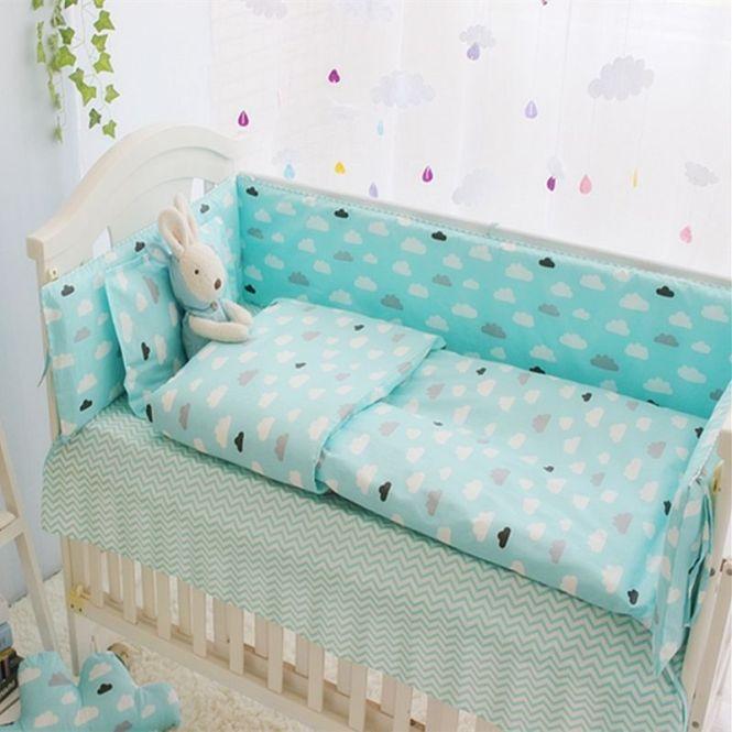 Green Clouds 4 10 Pcs S Boys Baby Bedding Set Cot Sets 120 60cm