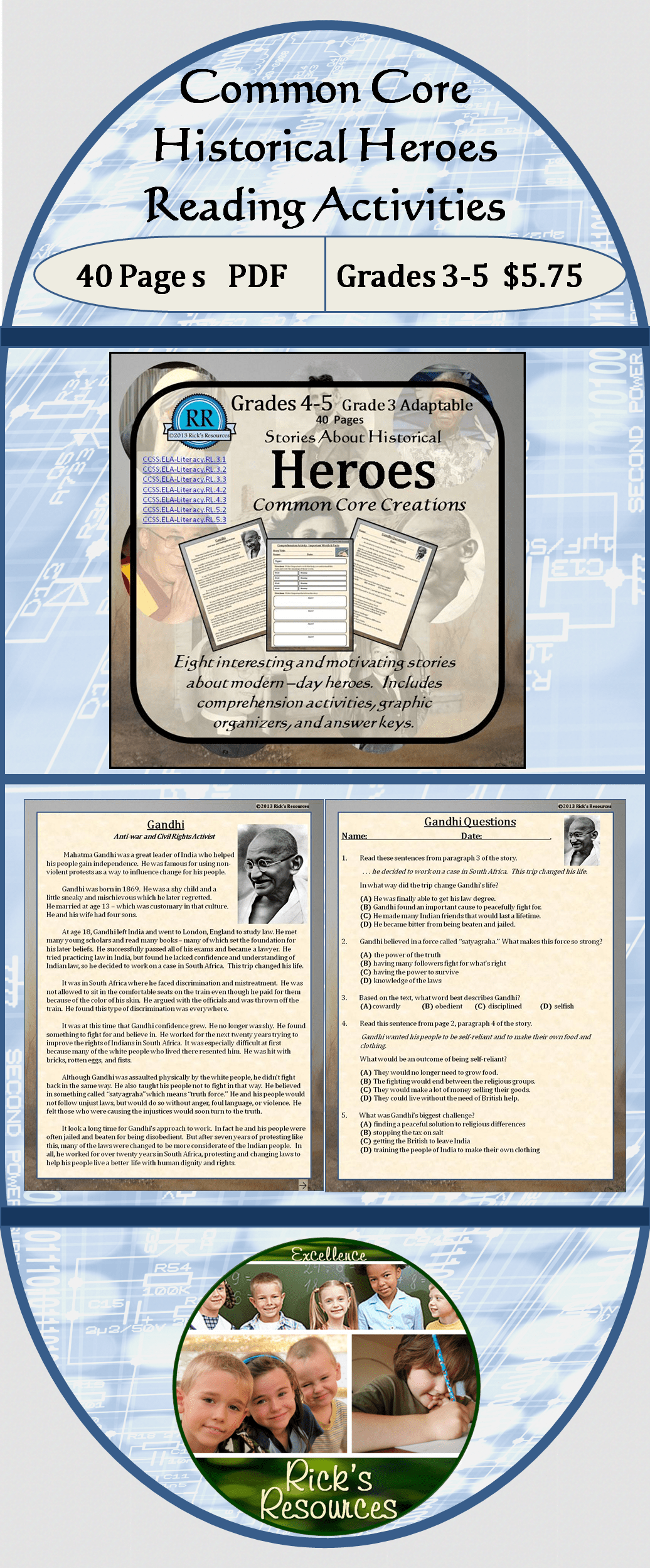 Close Reading Comprehension Activities Heroes Of History