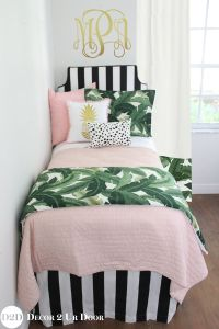 Palm tree bedding sets for dorm rooms. Black and white