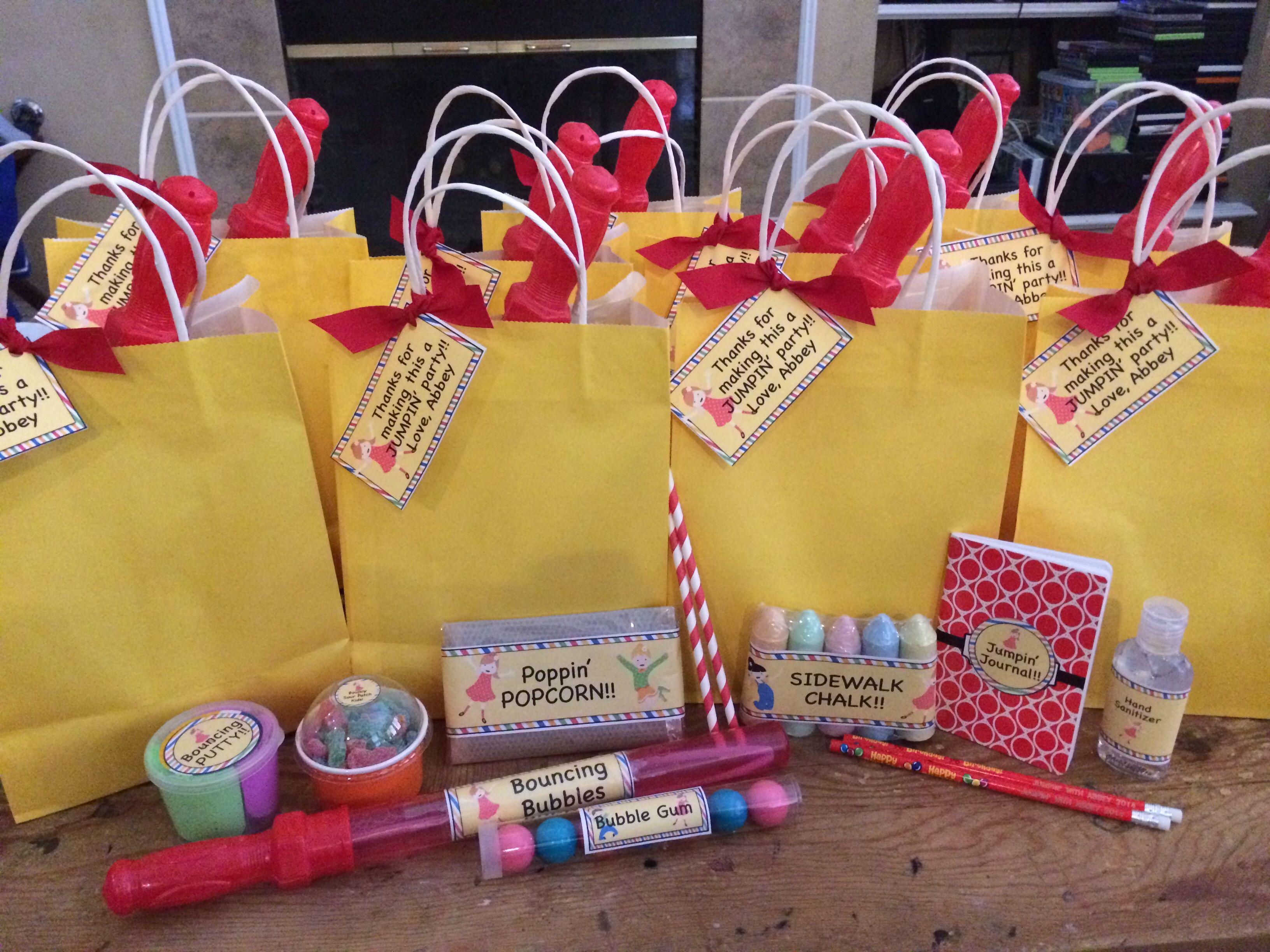 Trampoline Party Favor Bags Idea Bubbles Bubble Gum