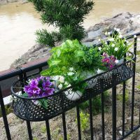 Wrought iron railing fence flower pots hanging oval frame ...