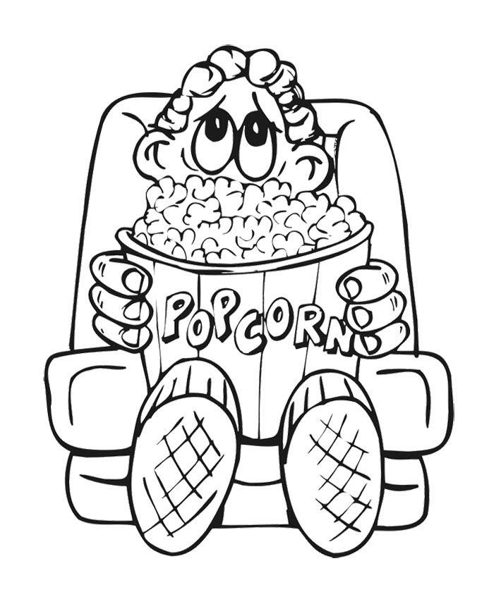 Popcorn Box Coloring Page Sketch Coloring Page