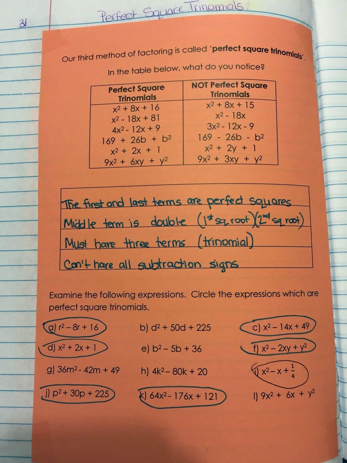 Misscalcul8 Algebra 2 Unit 3 Factoring Perfect Square
