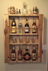 Rustic Pallet Wood Wall Shelf Liquor Cabinet Liquor Bottle ...