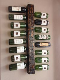 Wood Wall Mounted Vertical Wine Rack display holds 16 ...