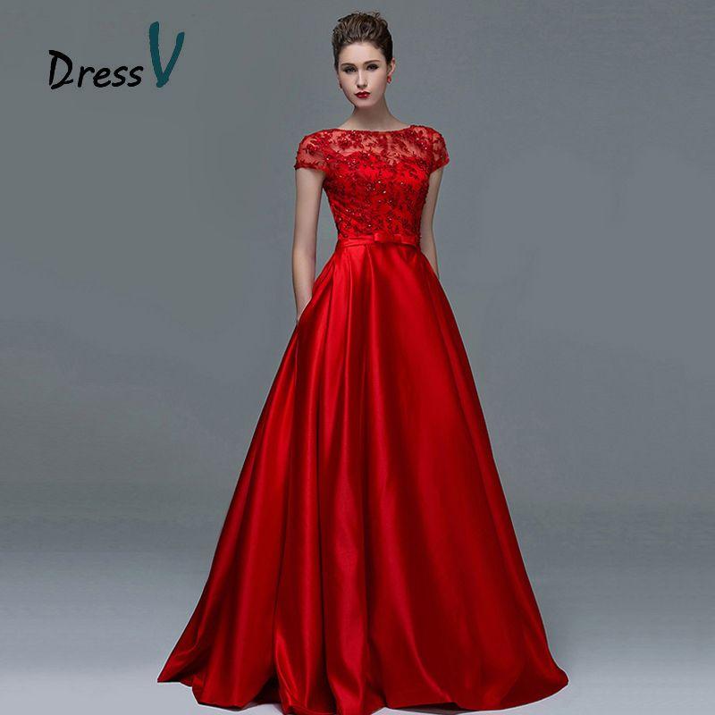 Dressv Elegant Red Lace Short Sleeves Evening Dresses 2017