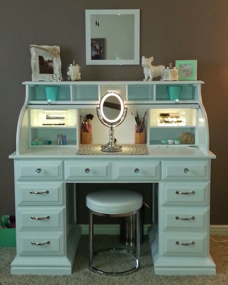 Roll top desk makeover By Chelsea Lloyd Vanity Makeup