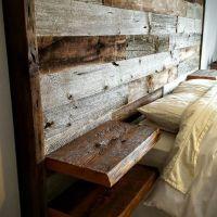 Reclaimed barn board oversized headboard with built in ...