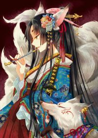 1girl animal_ears black_hair facial_mark fingernails ...