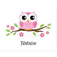Cute pink owl on branch personalized nursery wall art ...