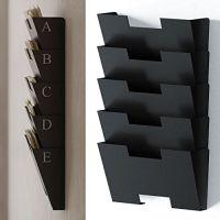 Black Wall Mount Steel File Holder Organizer Rack 5 ...
