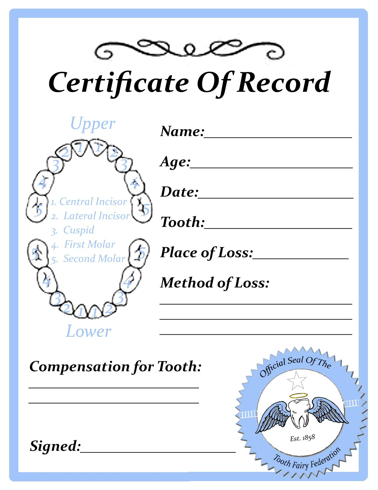 Printable Tooth Fairy Certificate Blank