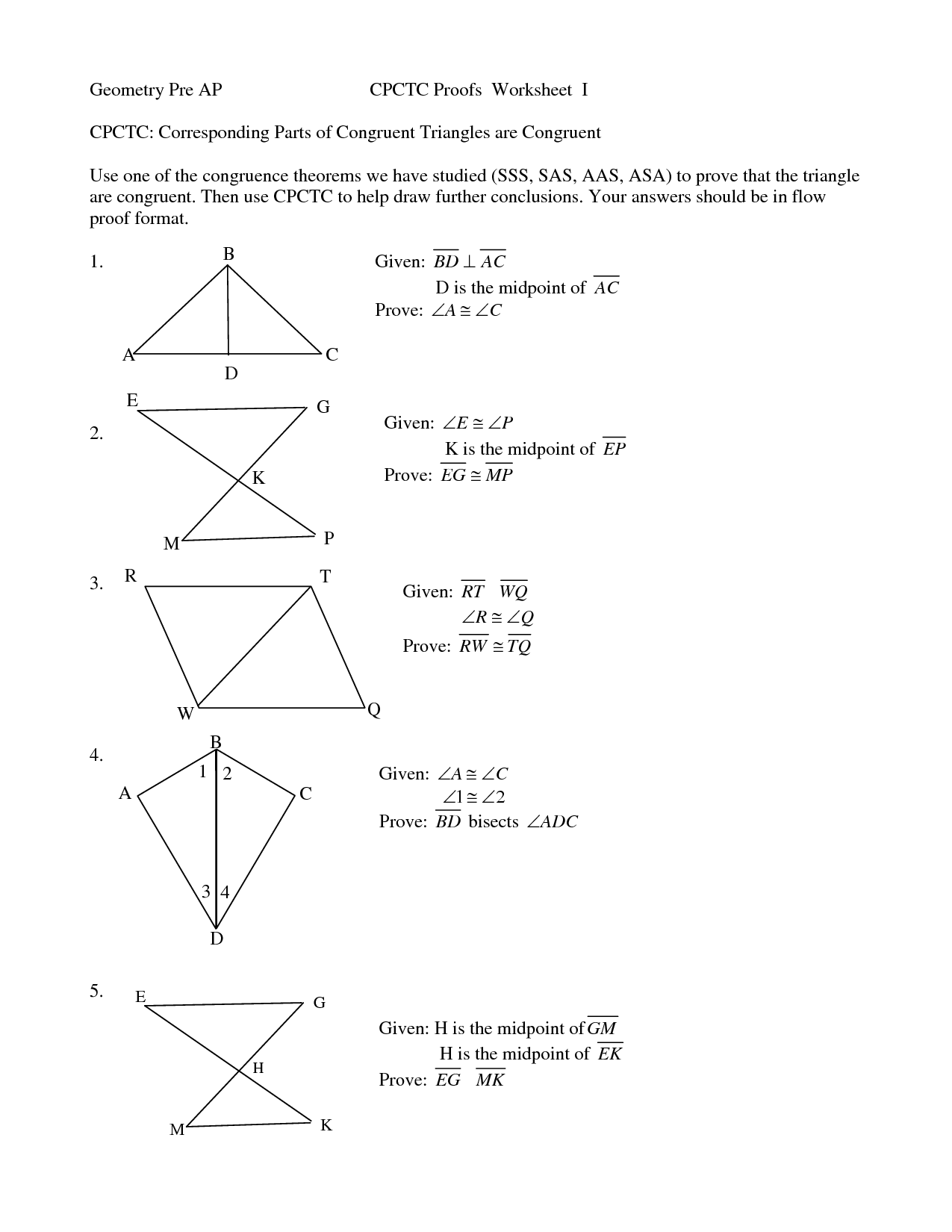 Triangle Congruence Worksheet
