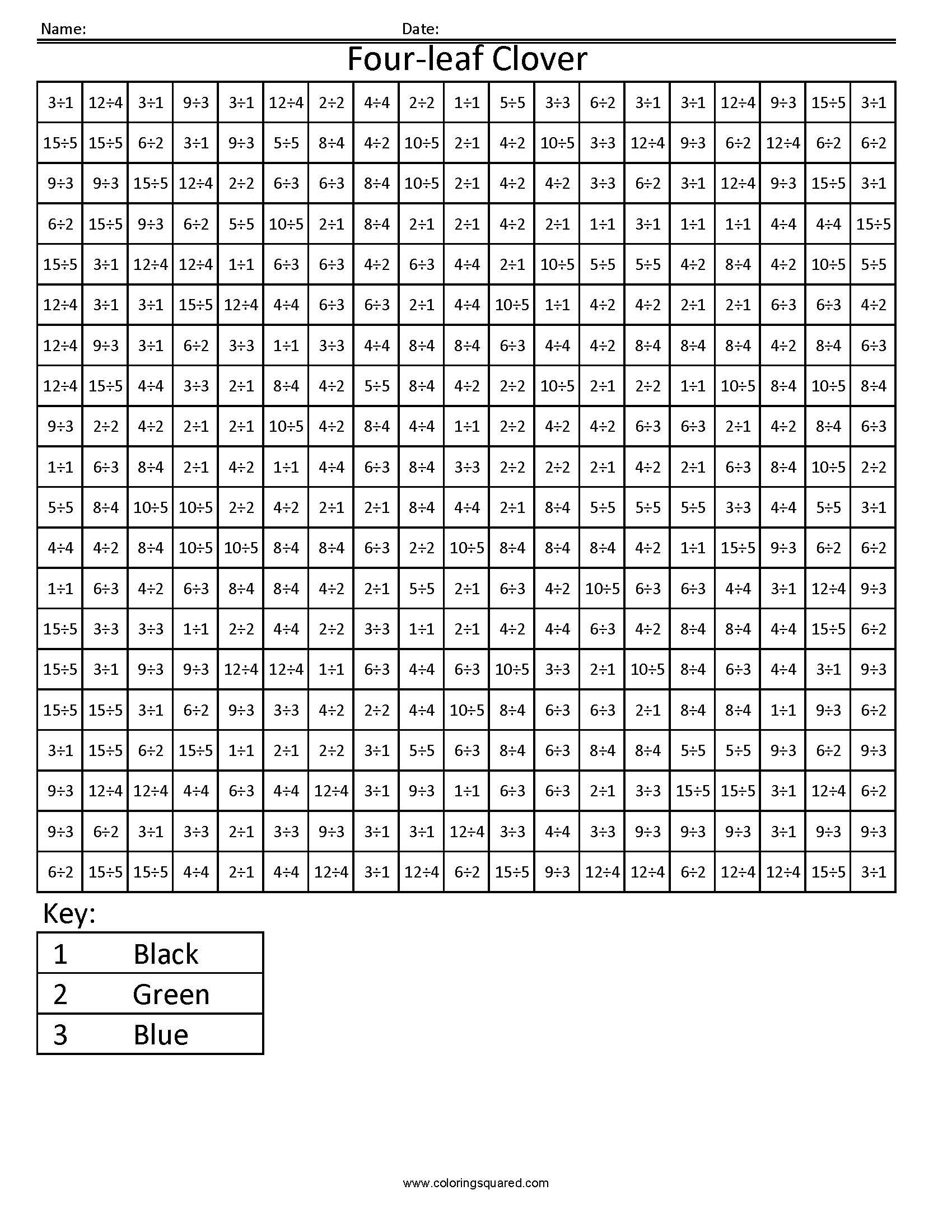 Four Leaf Clover Holiday Division Worksheet