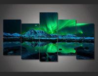 5 Panel Northern Light Aurora Framed Wall Canvas | Panel ...
