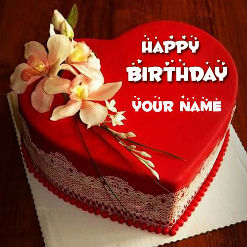 Happy Birthday Red Heart Love Cake Pic With Your Name
