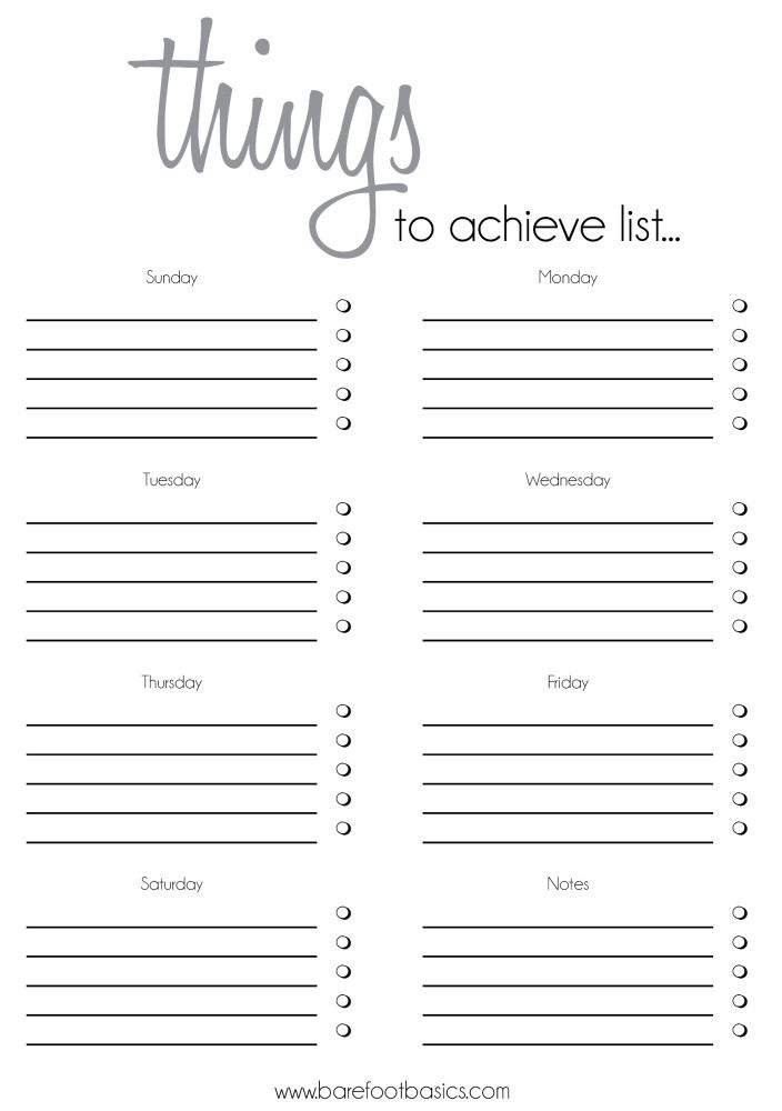 Free Things to Achieve List Printable This is my current
