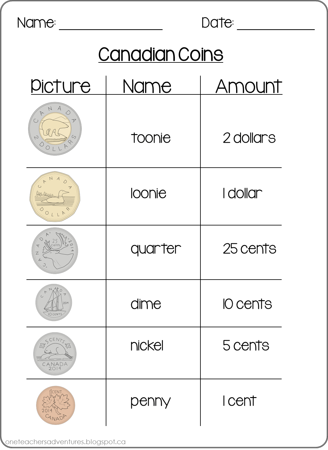 Coin Worksheet Grade 1
