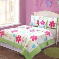 Girl Floral Quilt Bedding Set Kids Twin Size Patchwork 100 ...