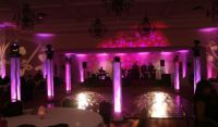 Truss columns w/white scrims and Intelligent Moving lights ...