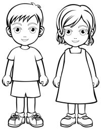 Boy and girl coloring page  | Pinteres