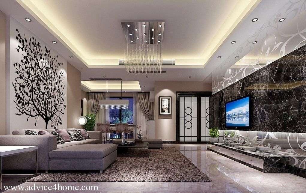 White Pop Ceiling Design And White Back Floral Wall Design And