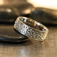 Trinity Celtic Knot Wedding Band 14k White Gold Unique
