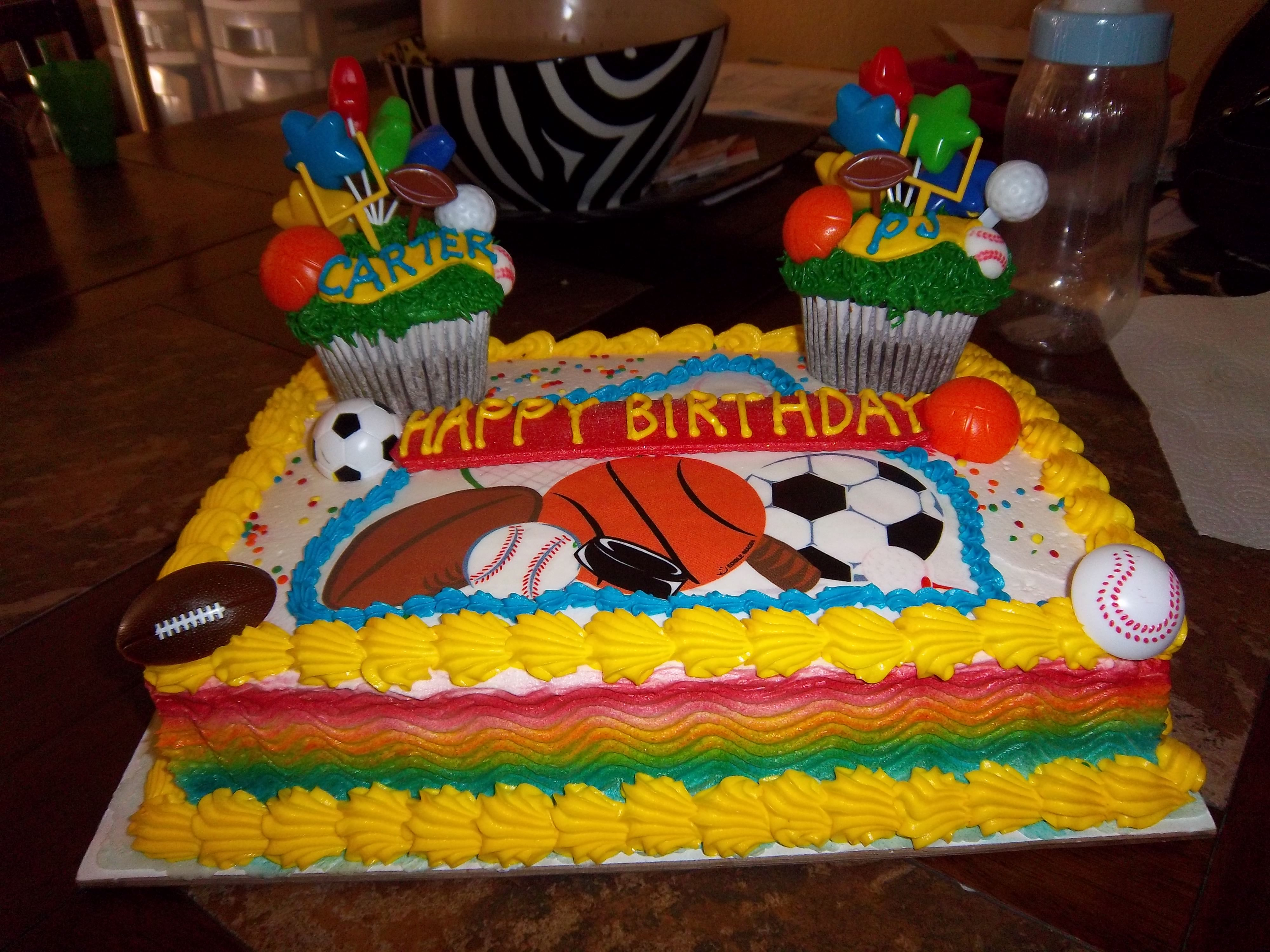 Sports Birthday Cake For Two Brothers They Each Get Their