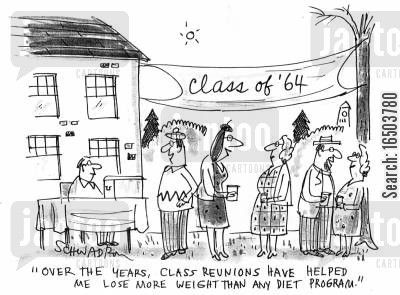 diets cartoon humor: 'Over the years, class reunions have