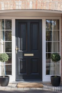 Great black front door and side glass panels | Paint ...