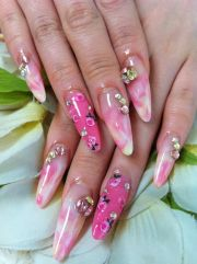 pink marble floral nails ayano