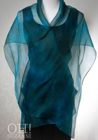 Hand Dyed Blue Green Silk Organza Shawl/Wrap // Formal ...