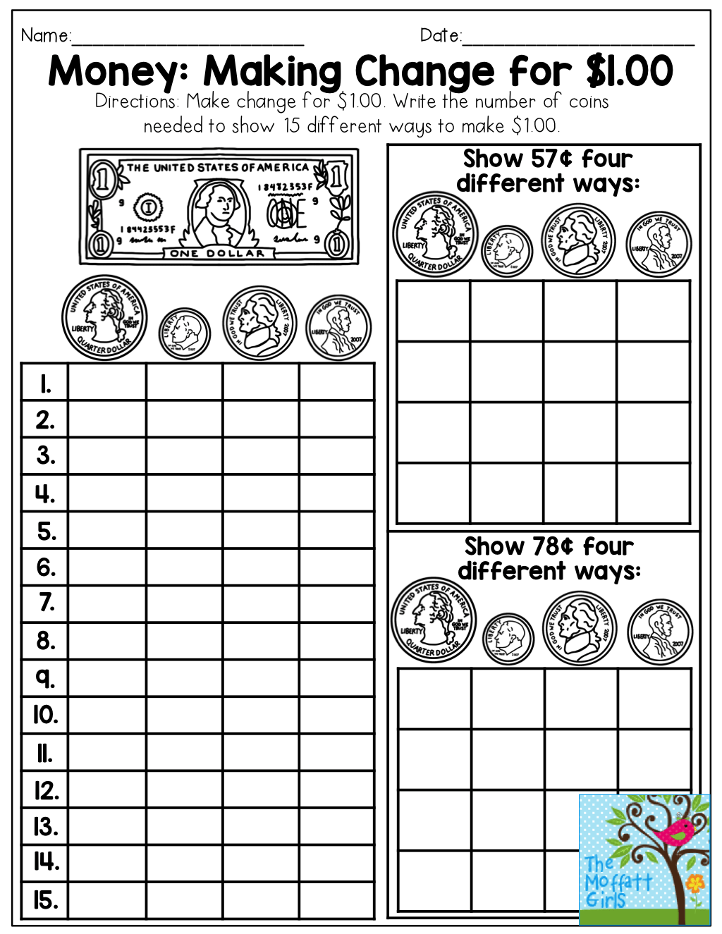 Worksheet For Counting Money And Making Change