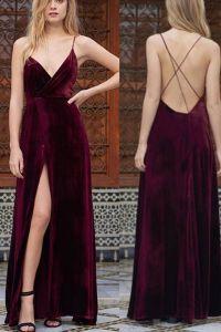 Backless prom dress, ball gown, cute wine velvet long prom